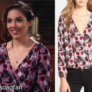 Cupcakes and Cashmere Revolve Floral Surplice Top